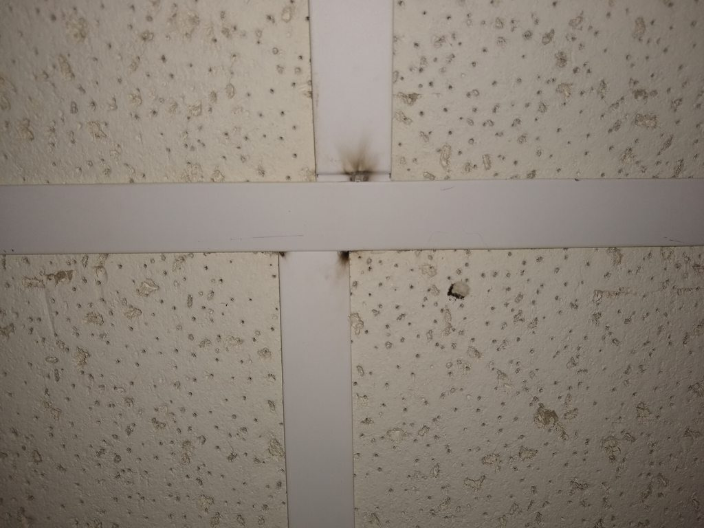 electrical arcing on a ceiling grid