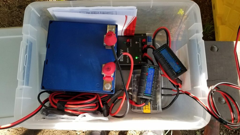 30 Ah LifePO4 solar charged battery pack (has run the IC-7100 for the last two years at QTH)
