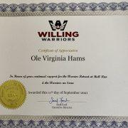 Willing Warriors Bike Event 2021 Certificate